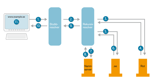 Figur 5. Alla steg i en DNS-uppslagning (när ingen information finns lagrad).