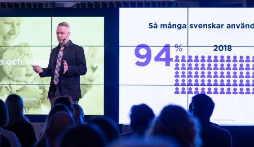 Måns Jonasson föreläser för Svenskarna och internet 2018.