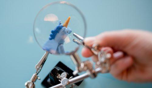 Legoenhörning I förstoringsglas.