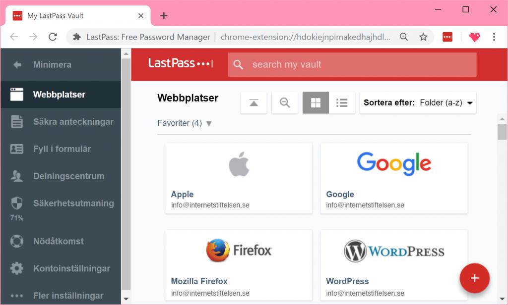 Lastpass webbläsartillägg i Google Chrome.