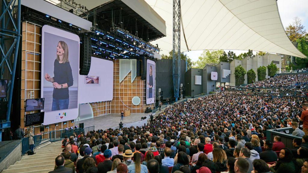 Publiken under öppningstalet vid konferensen Google I/O.