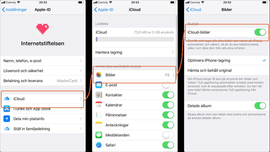 Inställningar för Icloud-bilden på Iphone.