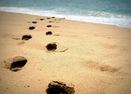 Fotspår på en strand leder ner i vattnet.