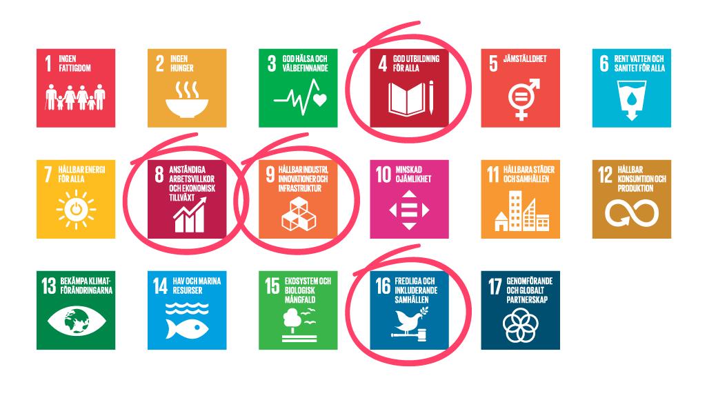 FN:s globala mål och Internetstiftelsens unika hållbarhetsaspekter