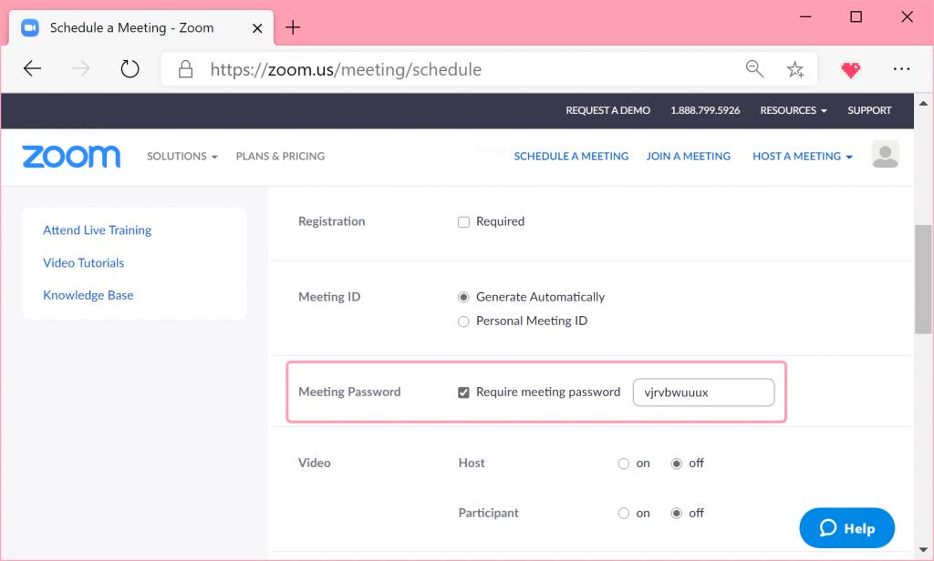 Inställningar för schemalagt möte i Zoom.