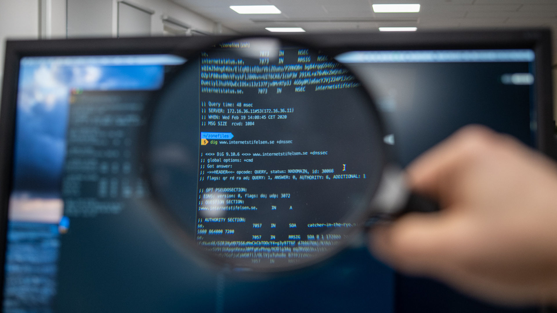 Magnifying glass investigating computer screen