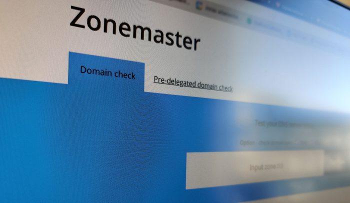Skärm som visar sajten Zonemaster