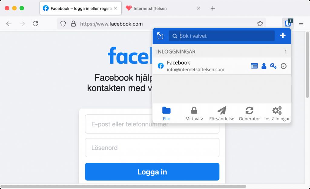 En skärmdump som visar hur man loggar in på facebook med lösenordstjänsten Bitward