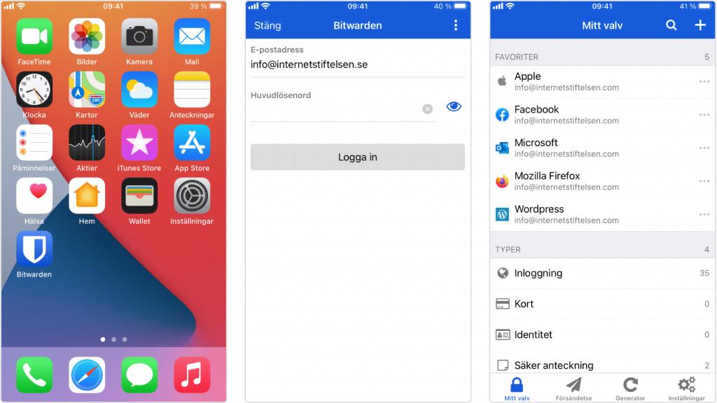 En skärmdump som visar hur lösenordshanteraren Bitward ser ut på Iphone