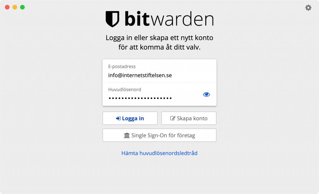 En skärmdump som visar hur lösenordshanteraren Bitward ser ut när man loggar in